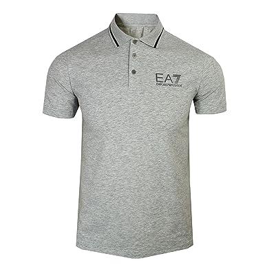 325c95fa8 Emporio Armani EA7 Mens Light Grey Marl Polo Shirt: Amazon.co.uk: Clothing