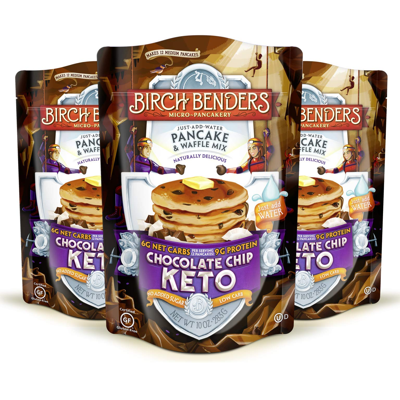 Birch Benders Keto Chocolate Chip Pancake & Waffle Mix with Almond/Coconut & Cassava Flour, 3 Count by Birch Benders (Image #1)