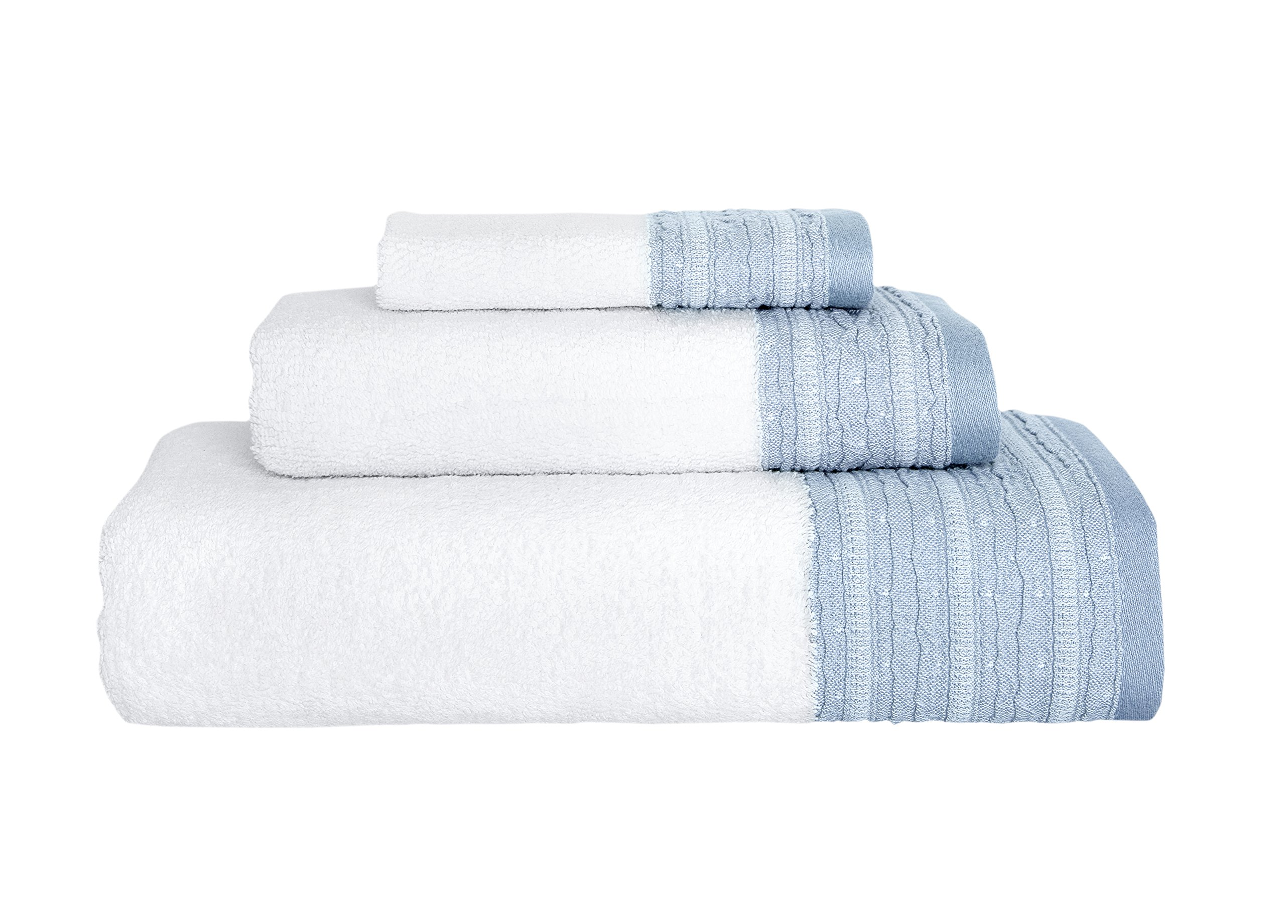 Garen 3-Piece Turkish Cotton Towel Set With Decorative Dobby - Ultra Soft Texture With Premium Absorbency - Perfect For Daily Use Or Home Decor (600 GSM) (Sky Blue)