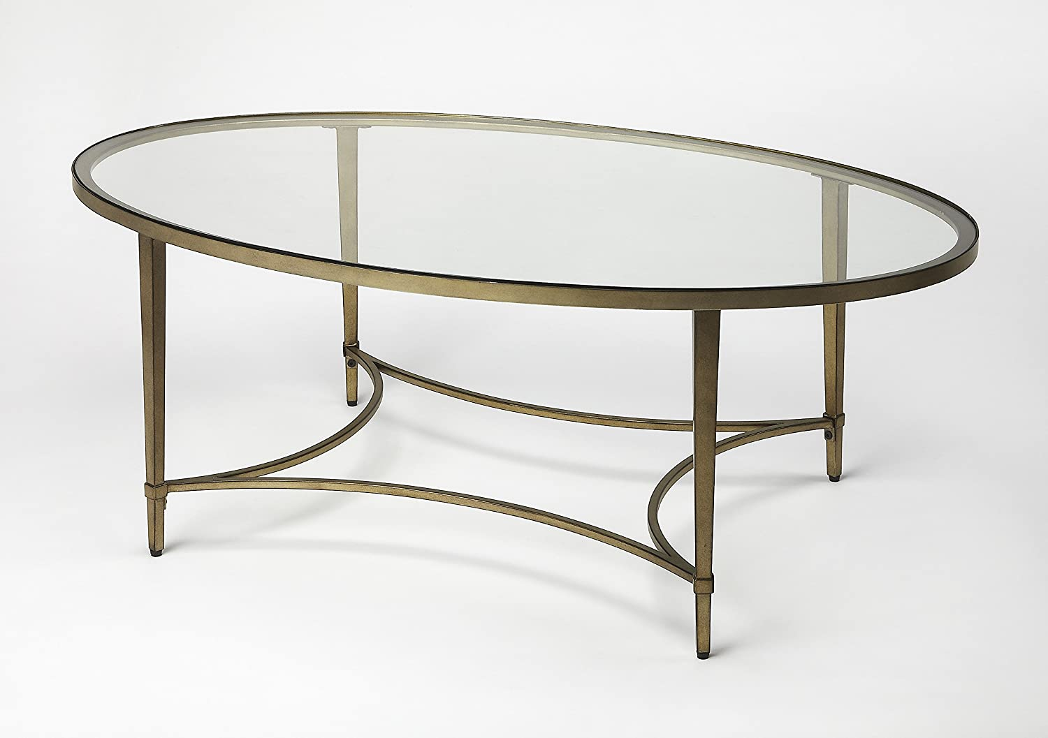 Gold Butler Monica Home Decorative Oval Tempered Glass sCoffee Table