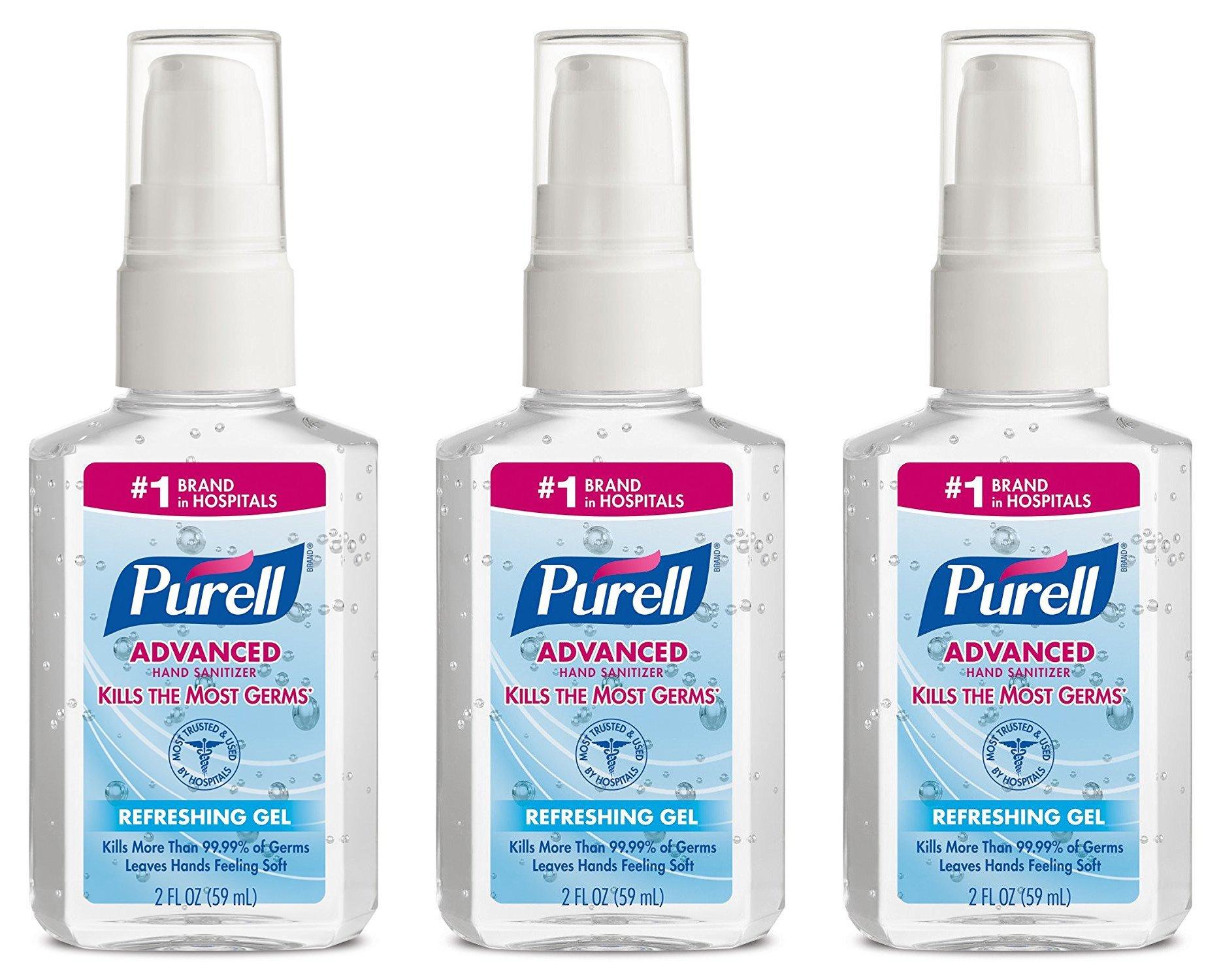 Purell Advanced Hand Sanitizer Refreshing Gel, Pump Bottle, 2 oz, 3-Pack
