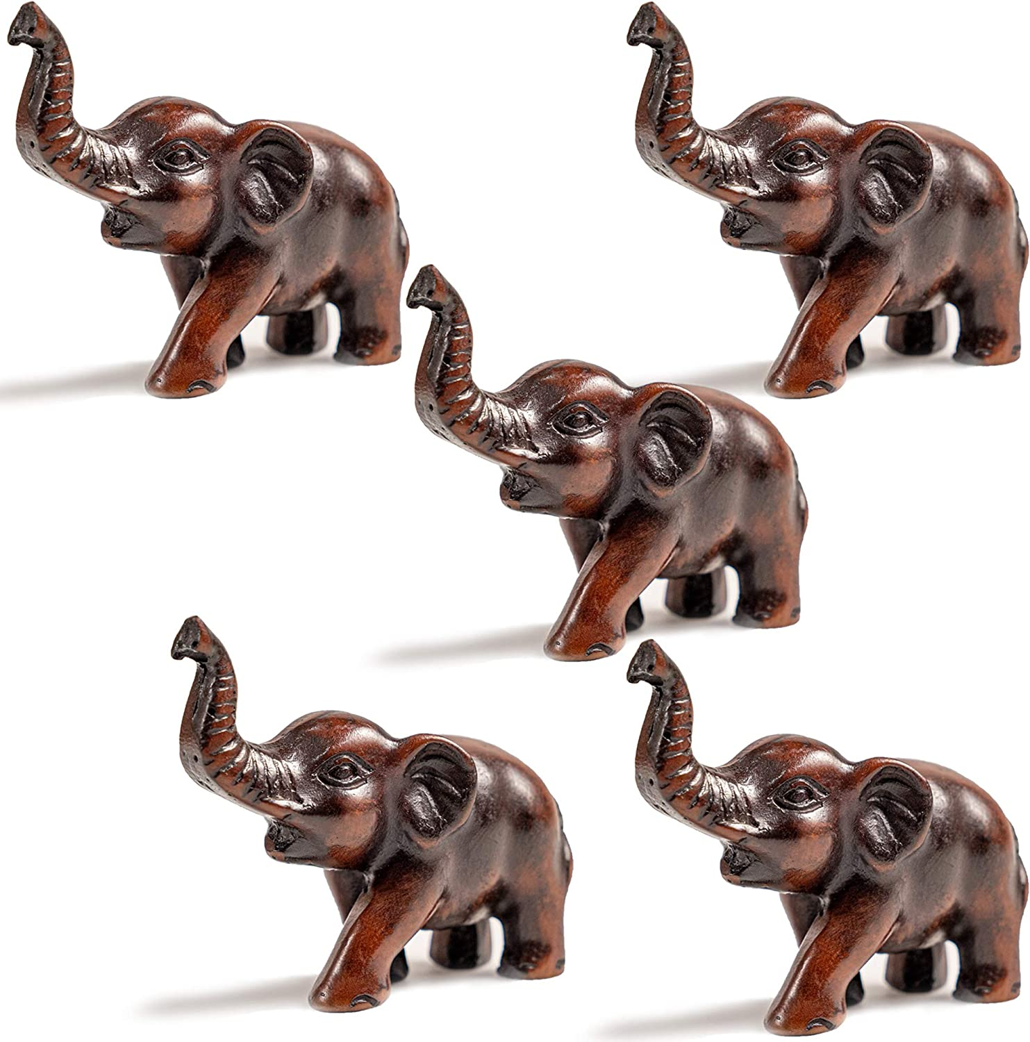 IYARA CRAFT Resin Feng Shui Elephant Animal Statues set of 5 Decorative Elephant Family Statues on Wave - Ideal for Modern & Rustic Settings - Small piece of Elephant Animals Figurine Statue Sculpture