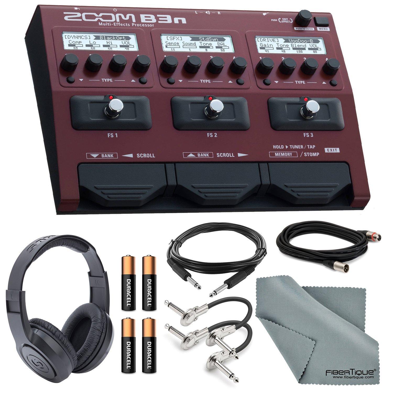 Zoom B3n Multi-Effects Processor for Bassists Bundle with XLR, TRS & Guitar Patch Cable + Headphones + Batteries + FiberTique Cloth