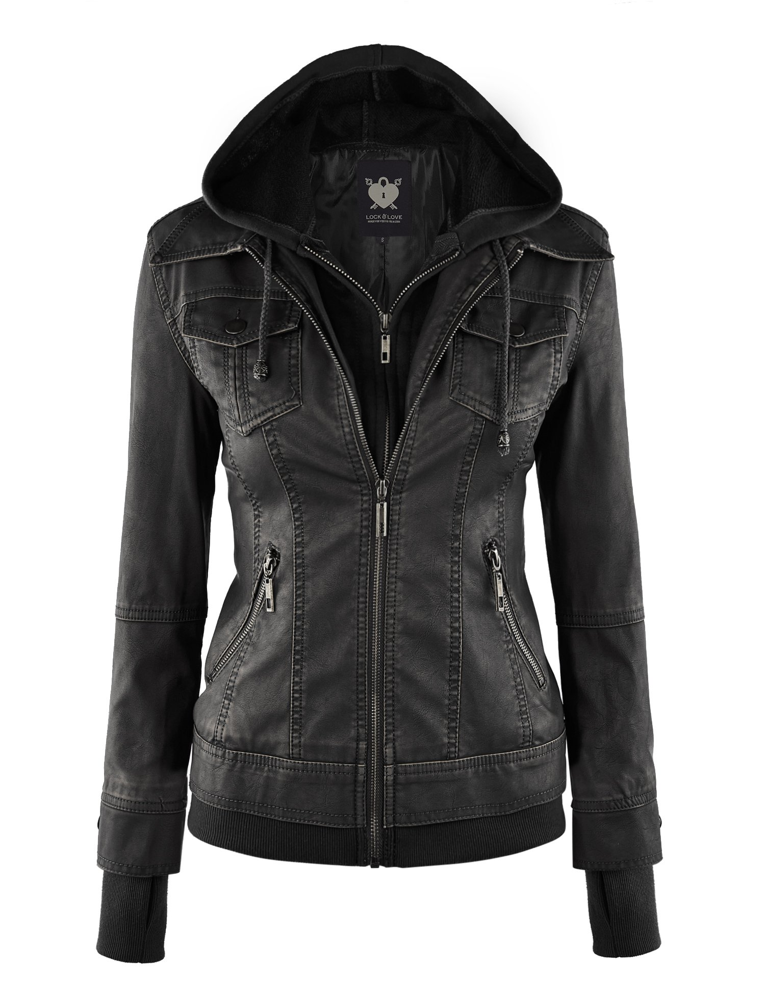 WJC664 Womens Faux Leather Jacket With Hoodie L Black