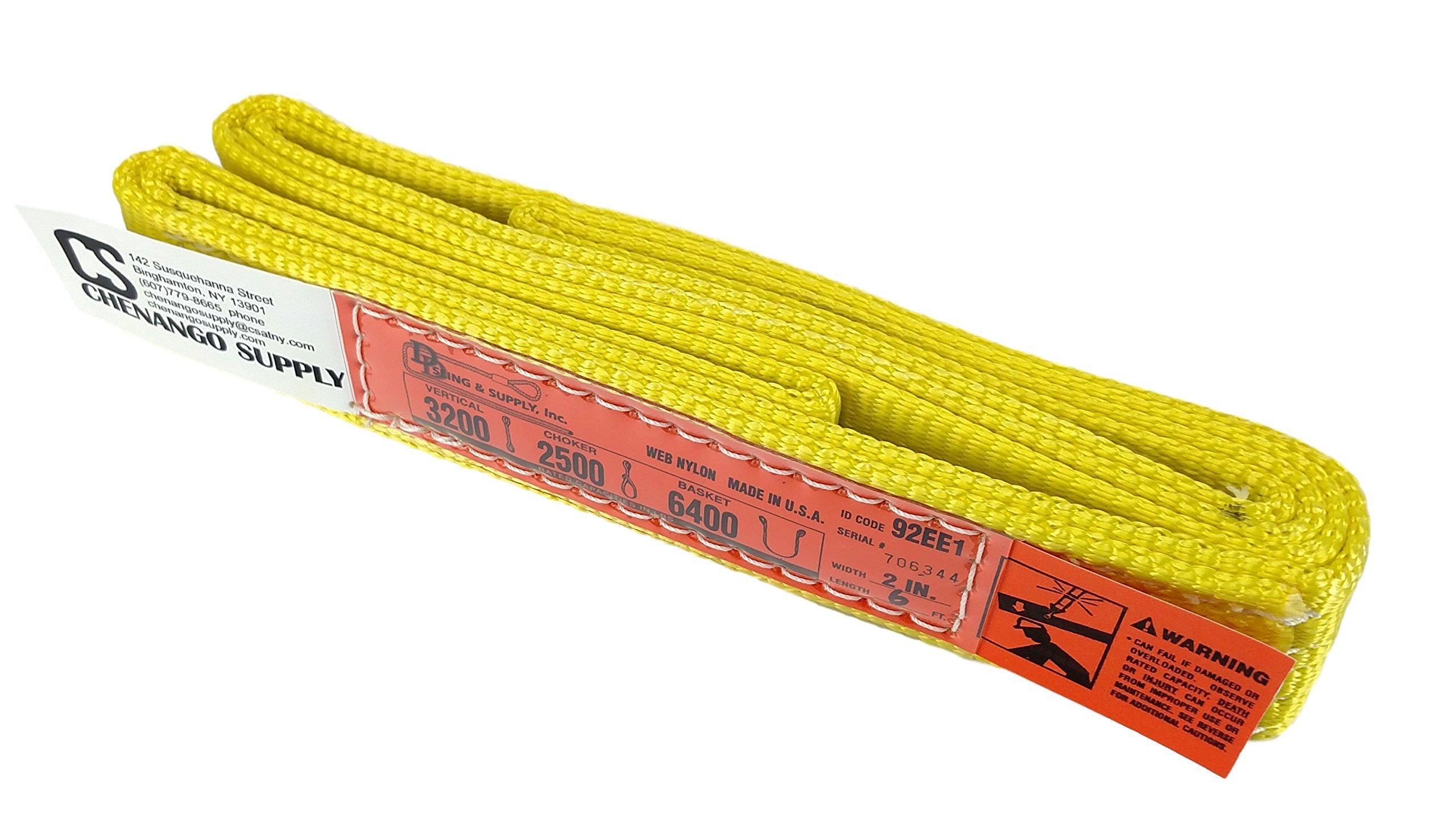 Multi Lengths in Listing! (USA Made), 1-PLY, 2'' Width Nylon Lifting Web Sling. lbs 3,200 Vertical, 2,500 lbs Choker, 6,400 lbs Basket Capacity, Eye & Eye, Heavy Duty (USA 900 webbing) (2''x6') by DD Sling & Supply, Inc.