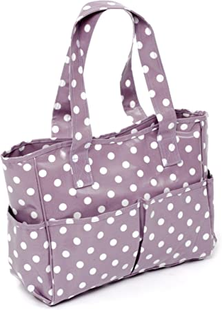 HobbyGift mauve spot design Knitting//Craft bag