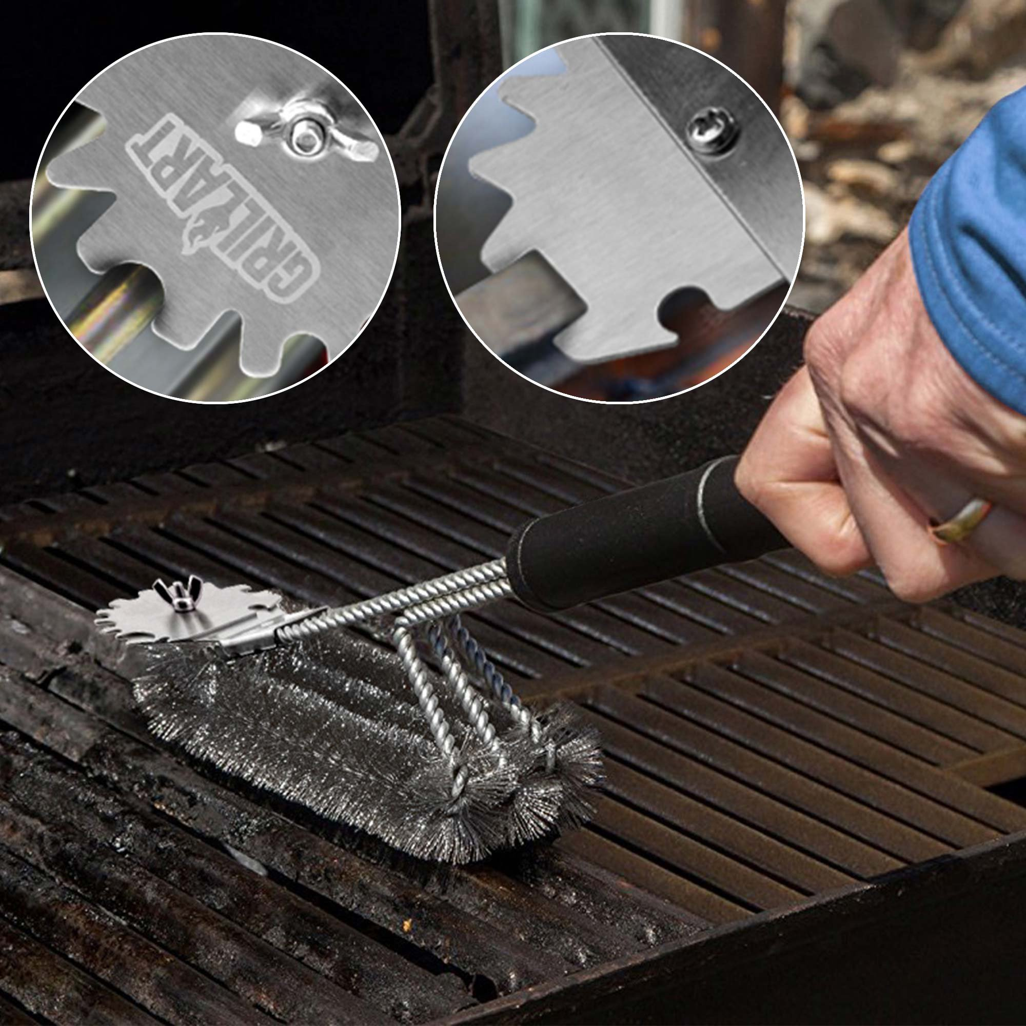 Grill Brush and Scraper Universal Fit - Adjustable BBQ Grill Accessories Cleaning Kit - 12 Grooves Safe 18'' Stainless Steel Barbecue Grill Cleaner Wizard Tools for Weber Gas/Charcoal Grilling Grates by GriIIArt (Image #2)