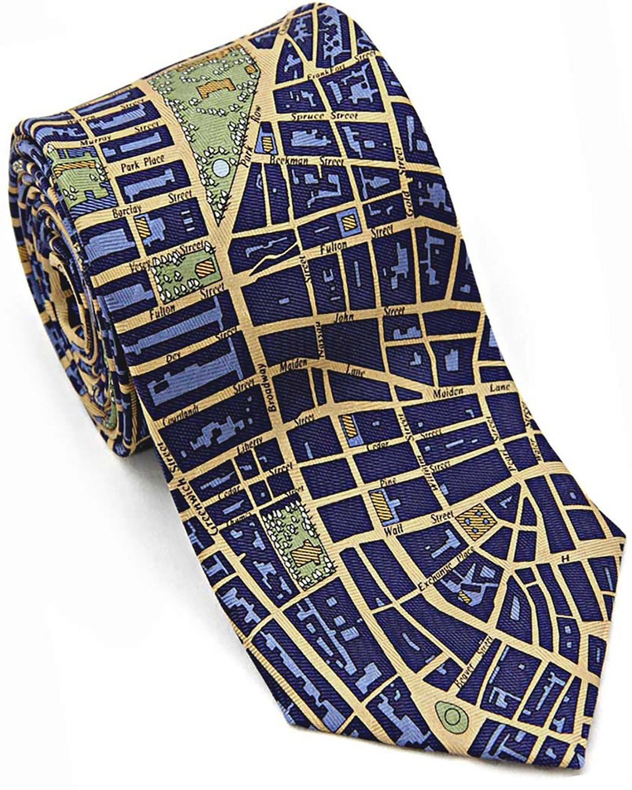 Josh Bach Mens CIVITAS Map of New York City Silk Necktie in Blue/Gold by Josh Bach (Image #1)