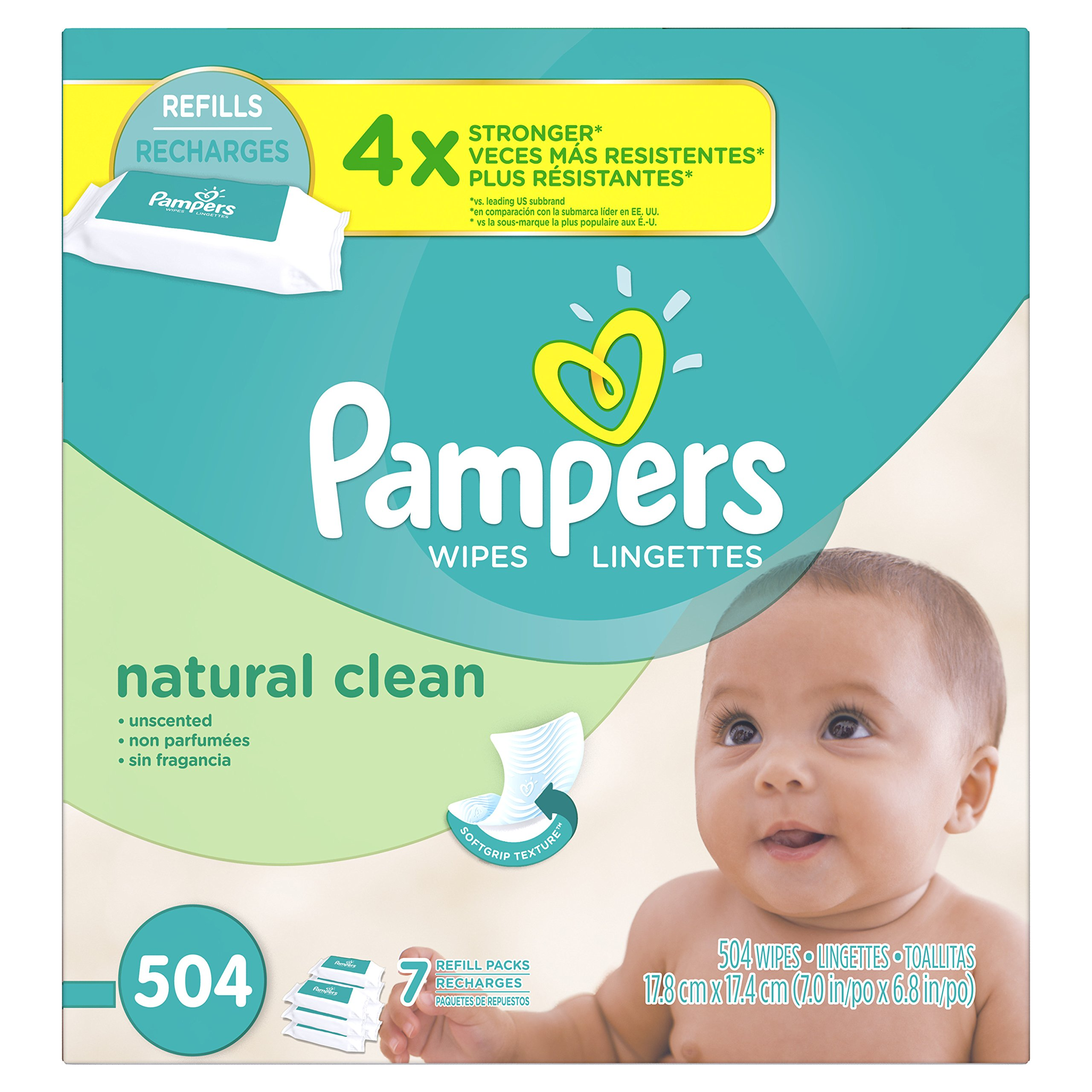 Pampers Natural Clean Unscented Water Baby Wipes 7X Refill Packs, 504 Count,72 Count (Pack of 7)