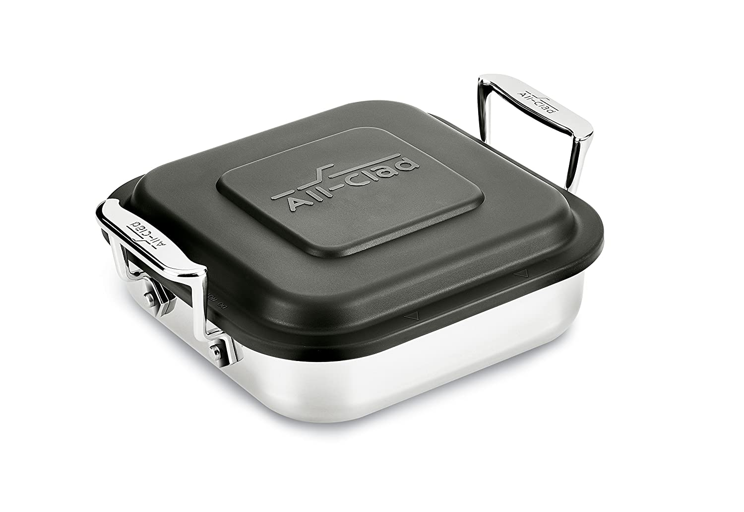 All-Clad E9019464 Gourmet Accessories Stainless Steel Square Baker w/lid cookware, 8-Inch, Silver 2100100835
