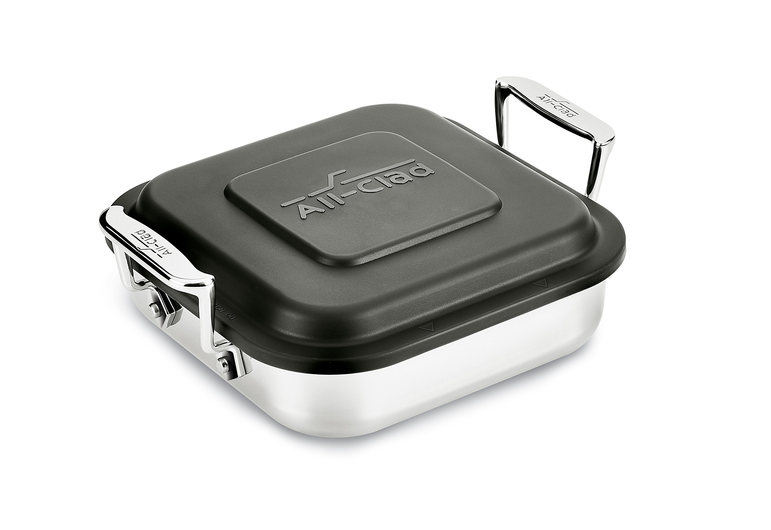 All-Clad E9019464 Gourmet Accessories Stainless Steel Square Baker w/lid cookware, 8-Inch, Silver by All-Clad (Image #1)