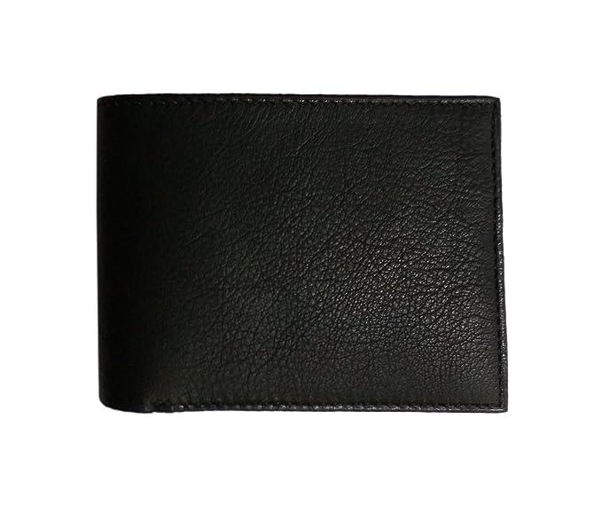 980b736d2ce56 BENICIA Men s Leather Wallet BiFold Black RFid Blocking Slim Zipper  Protected Zipper Multiple Card Slots