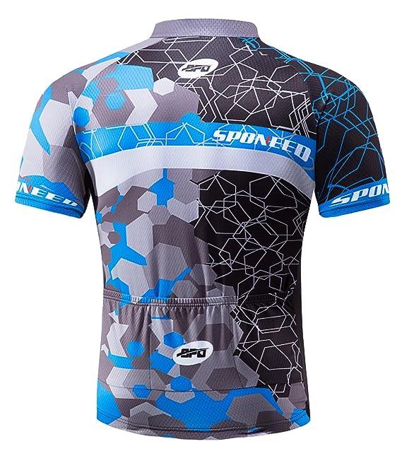 cfd358216cc Amazon.com   sponeed Men s Cycling Jerseys Tops Biking Shirts Short Sleeve  Bike Clothing Full Zipper Bicycle Jacket Pockets   Clothing