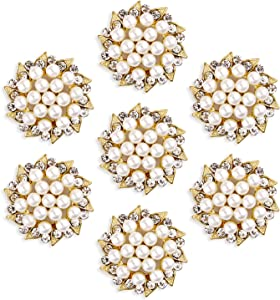 YIMIL Rhinestone Pearl Button Brooches, Flat Back Crystal Pearl Embellishments for Wedding Bouquets, Gift Package, Headband, Home Decor, Craft Project. Pack of 15.