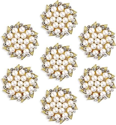 10 PCS Flower Button Faux Pearl Flatback Rhinestones Shank Button Sewing DIY