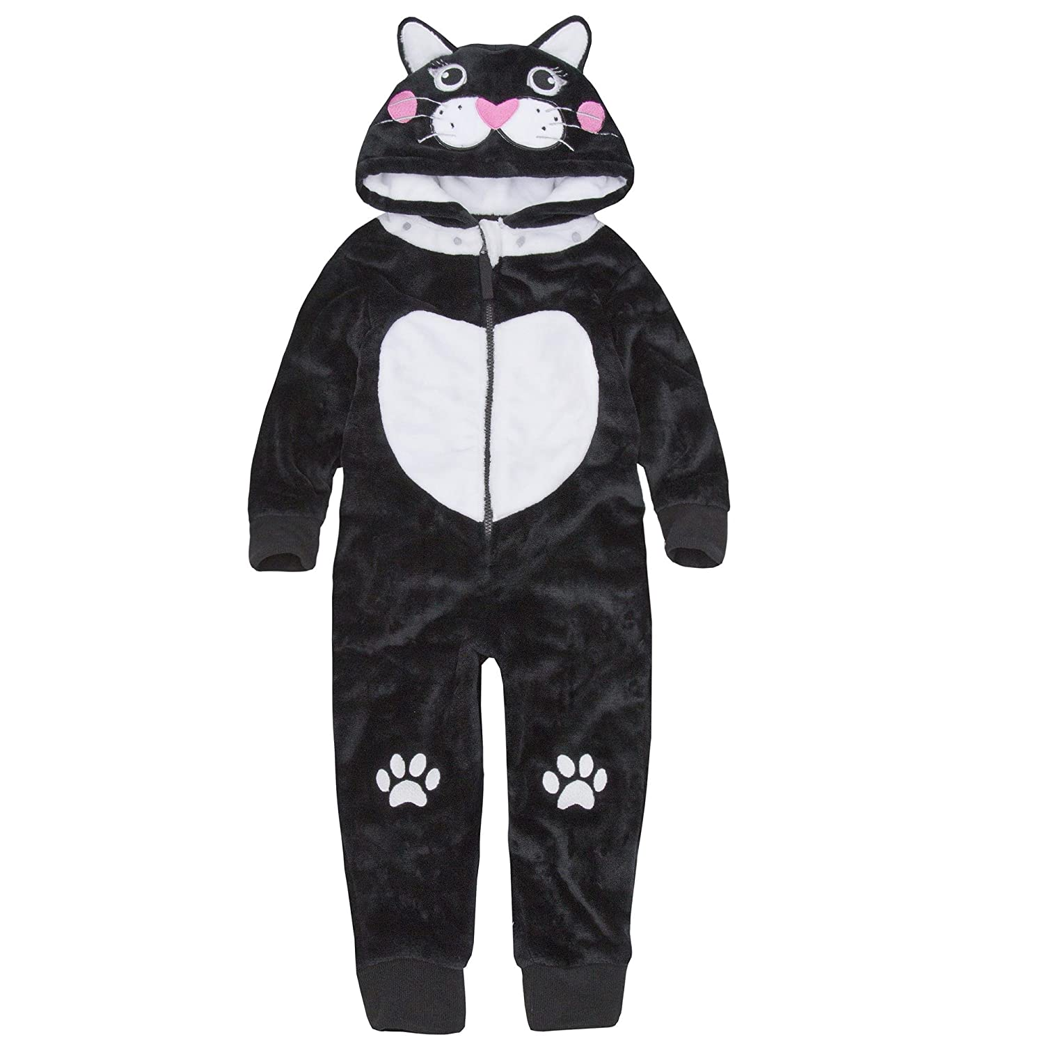 ONEZEE Girls Plush Cat Design All-in-One with Cute Cat Novelty Hood