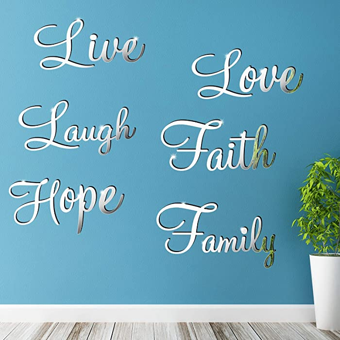 3D Acrylic Mirror Wall Decor Stickers DIY Silver Faith Live Laugh Hope Love Family Removable Mural Decal for Home Office School Classroom Teen Dorm Room Mirror Wall Decoration