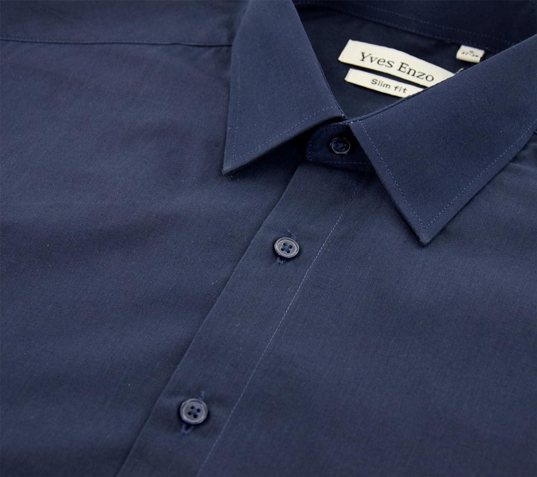 Enzo Camisa Slim Fit Azul Marino Para Hombre con Manga Larga: Amazon.es:  Ropa y accesorios