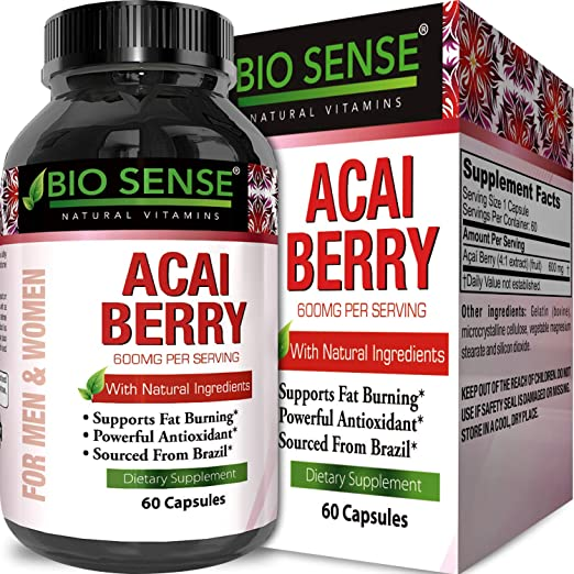 100% Pure Acai Berry Extract Detox & Cleanse Weight Loss Supplement Increases Immune System Metabolism Boost Energy and Brain Function High in Antioxidants for Men and Women by Opti Natural