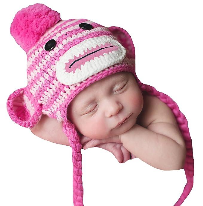 Amazon.com  Melondipity s Pink Striped Sock Monkey Baby Hat - Baby ... 94c76cb93ba