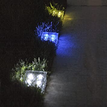 Solar Clear Glass Brick Paver Light with 4 LEDs