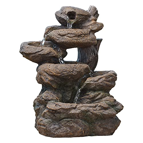 Serenity Cascading Rock Water Feature Indoor/Outdoor Self Contained Ornament H33cm