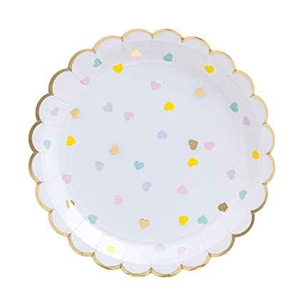 Fire and Creme Hearts Large Foiled Scalloped Party Paper Plates Gold and Pastel Colors 9 x  sc 1 st  Amazon.com & Amazon.com: Fire and Creme Hearts Large Foiled Scalloped Party Paper ...
