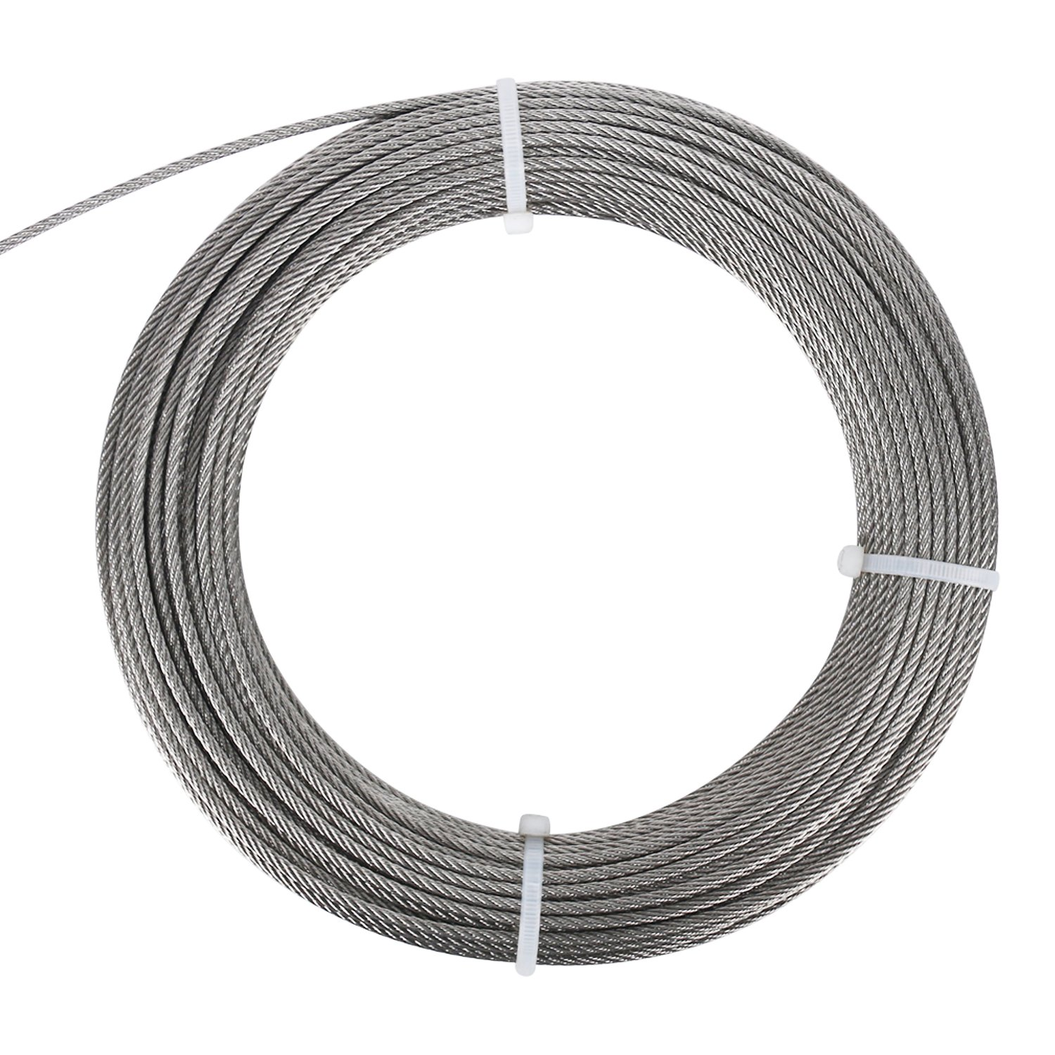 DasMarine Stainless Aircraft Steel Wire Rope Cable for Railing,Decking, DIY Balustrade, 1/8Inch,7x7 (1/8Inch, 7x7, 164FT) by DasMarine