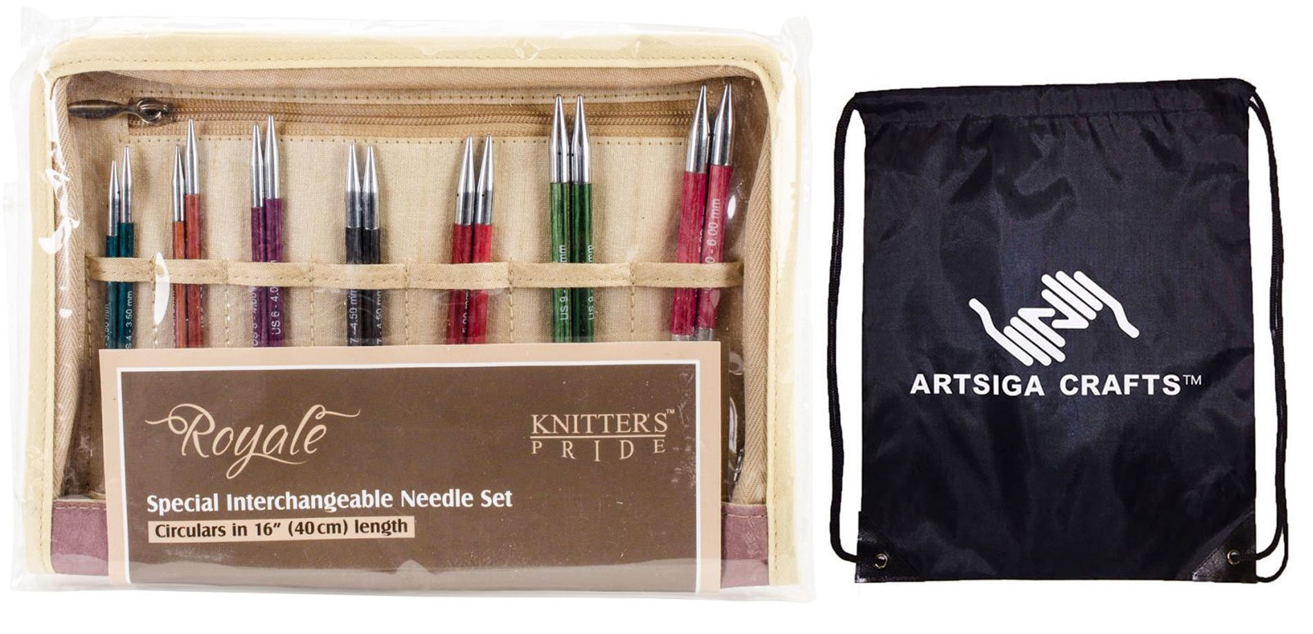 Knitter's Pride Royale Interchangeable Deluxe Short Tip Knitting Needle Set Bundle with 1 Artsiga Crafts Project Bag 220352