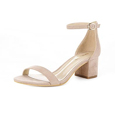 614c08eb984b0 Eunicer Women's Single Band Classic Chunky Block Low Heel Pump Sandals with  Ankle Strap Dress Shoes (Half Size Large)