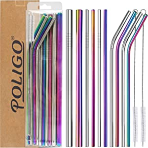 POLIGO 13 Pieces Stainless Steel Straws Set with case - Reusable Metal Drinking Straws for 20 oz Tumblers Yeti (4 Curved + 4 Straight + 2 Large + 2 Brushes) - Ideal Choice for Kitchen, Bar and Picnic