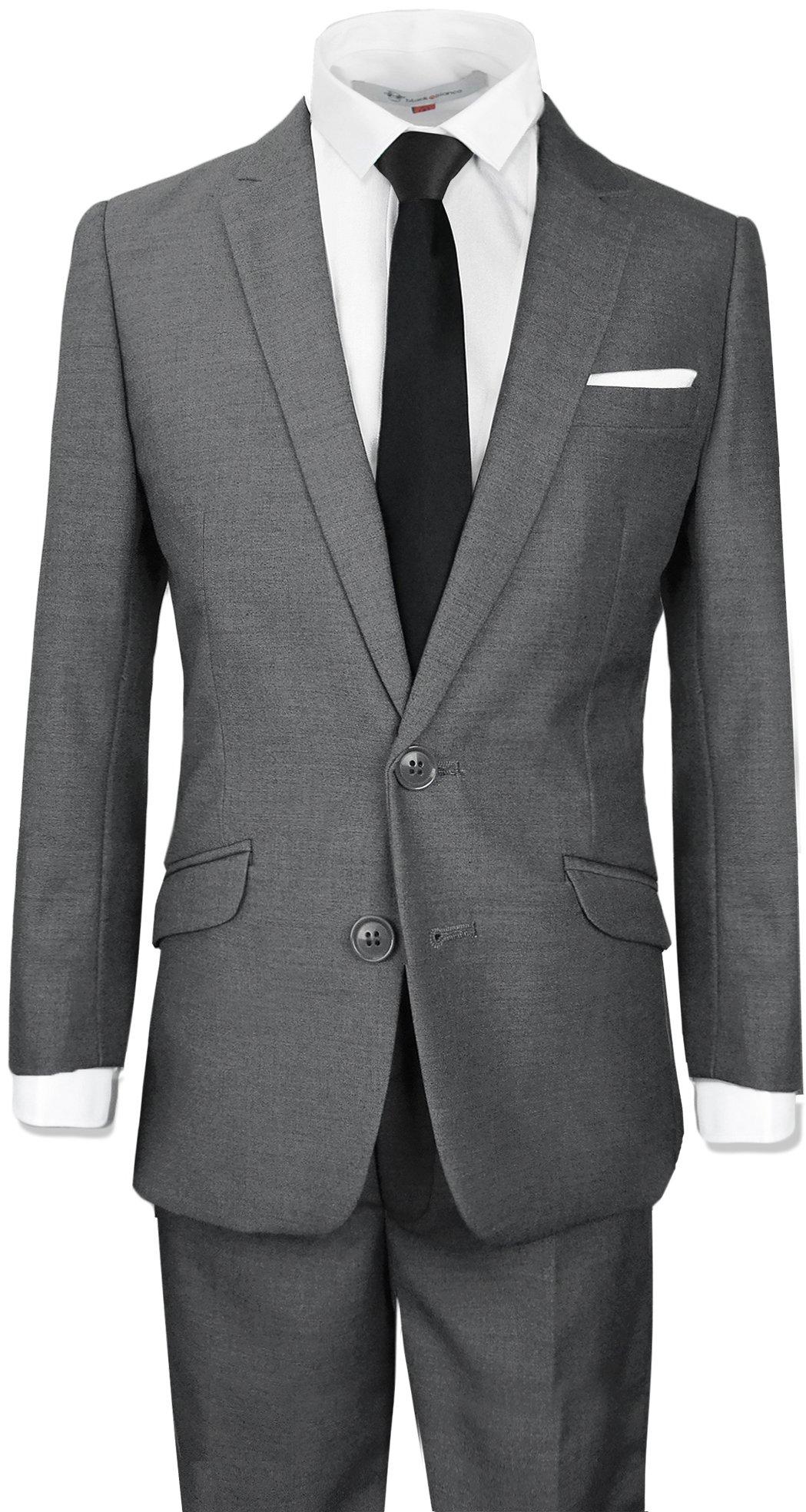 Black N Bianco Boys Signature Slim Suit in Dark Grey Size 14