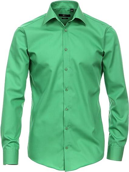 Venti Camisa verde Uni 69 extra larga brazo Slim Fit entallado Kent Cuello 100% algodón de alta calidad Bügel libre verde 42: Amazon.es: Ropa y accesorios