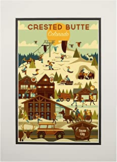 product image for Crested Butte, Colorado - Ski Resort - Geometric (11x14 Double-Matted Art Print, Wall Decor Ready to Frame)