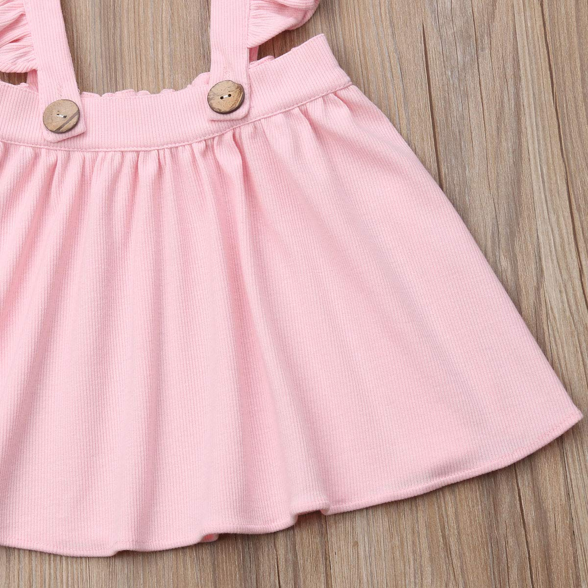 doublebabyjoy Baby Girl One Piece Ruffles Suspender Skirt Overalls Infant Solid Color Sleeveless Backless Dress Outfit 0-5T