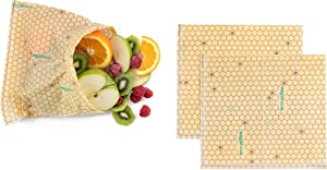 """ENVUELBEE Reusable Snack Bags – Premium Chilean Patagonian Beeswax Food Bag – Pack of 3 Plastic-Free Food Storage Baggies – Perfect Sealing – Eco-Friendly - 3 Pieces of 7.8"""" x 8.6"""" - Hive print"""