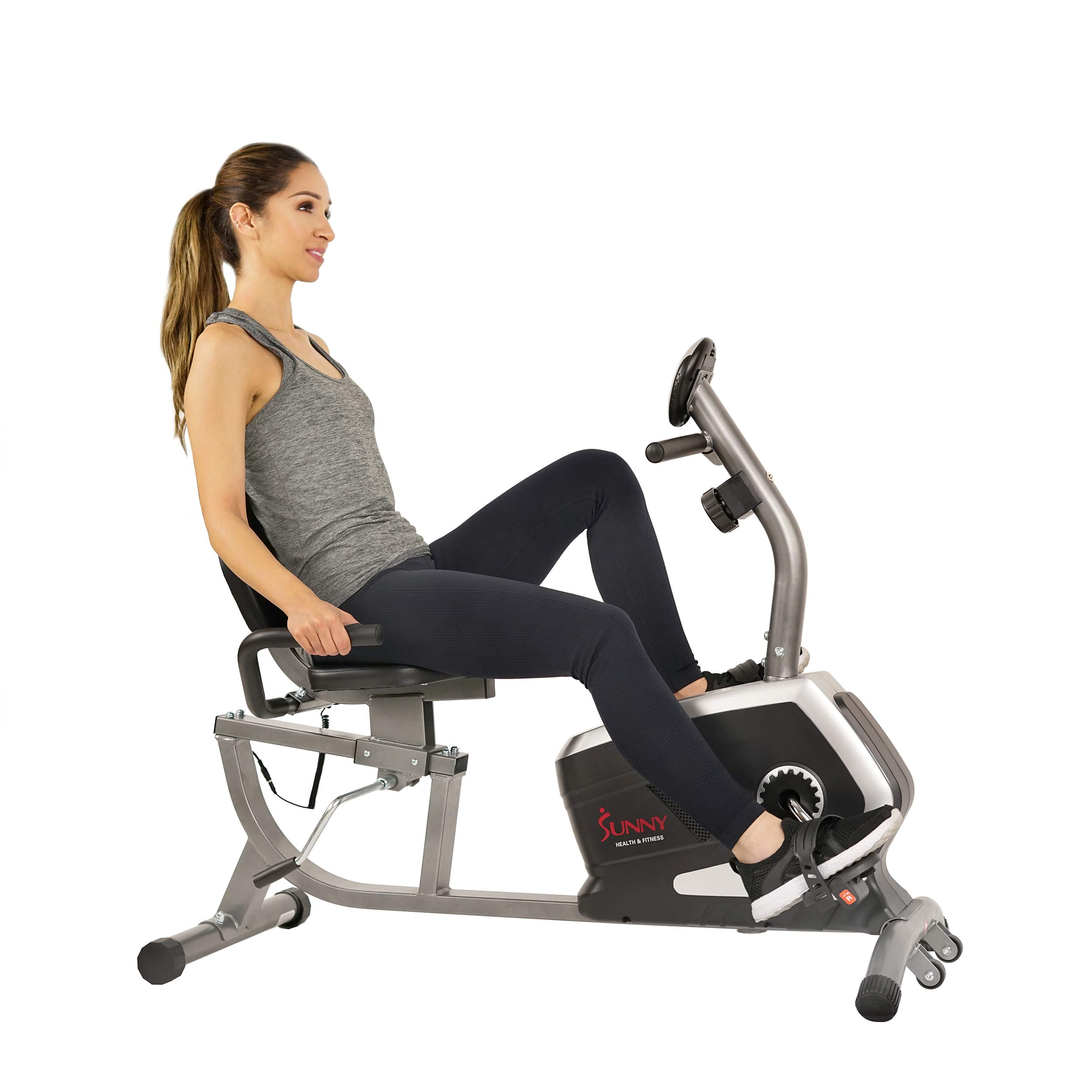 Sunny Health & Fitness Magnetic Recumbent Bike Exercise Bike, 300lb Capacity, Easy Adjustable Seat, Monitor, Pulse Rate Monitoring - SF-RB4616 by Sunny Health & Fitness (Image #1)