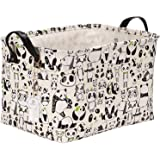 Sea Team Stylish Panda Design Canvas & Linen Fabric Storage Basket Nursery Bin Toy Organizer with Premium PU Leather Handles for Kid's Room, Waterproof Coating