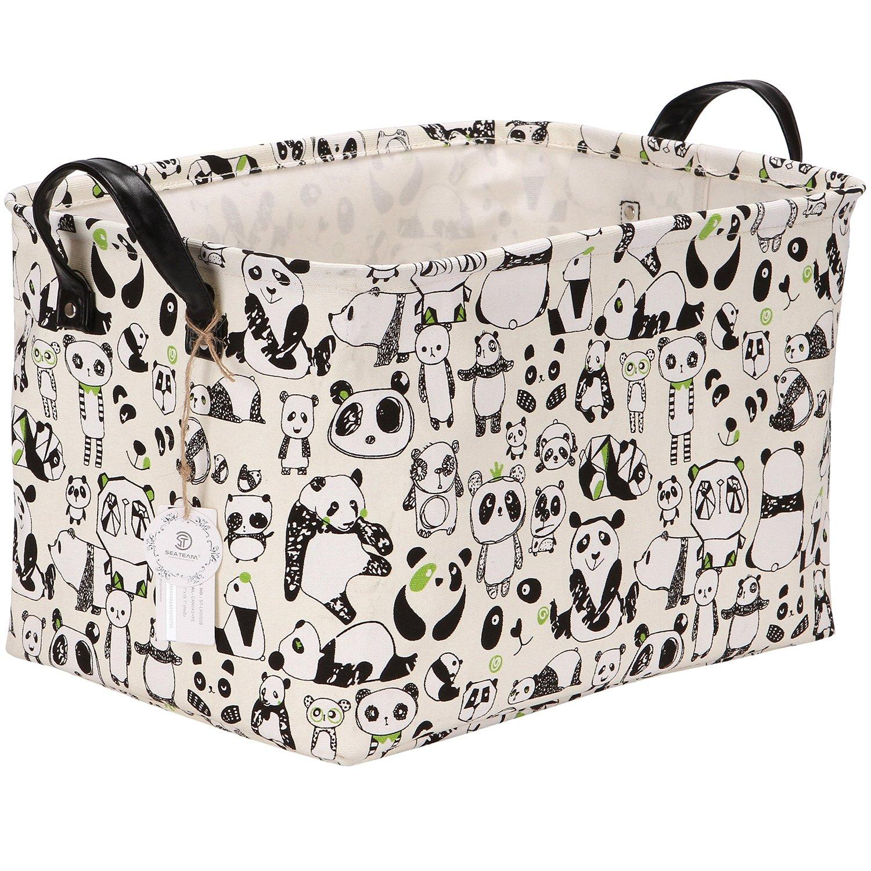 Sea Team Stylish Panda Design Canvas & Linen Fabric Storage Basket Nursery Bin Toy Organizer with Premium PU Leather Handles for Kid's Room, Waterproof Coating