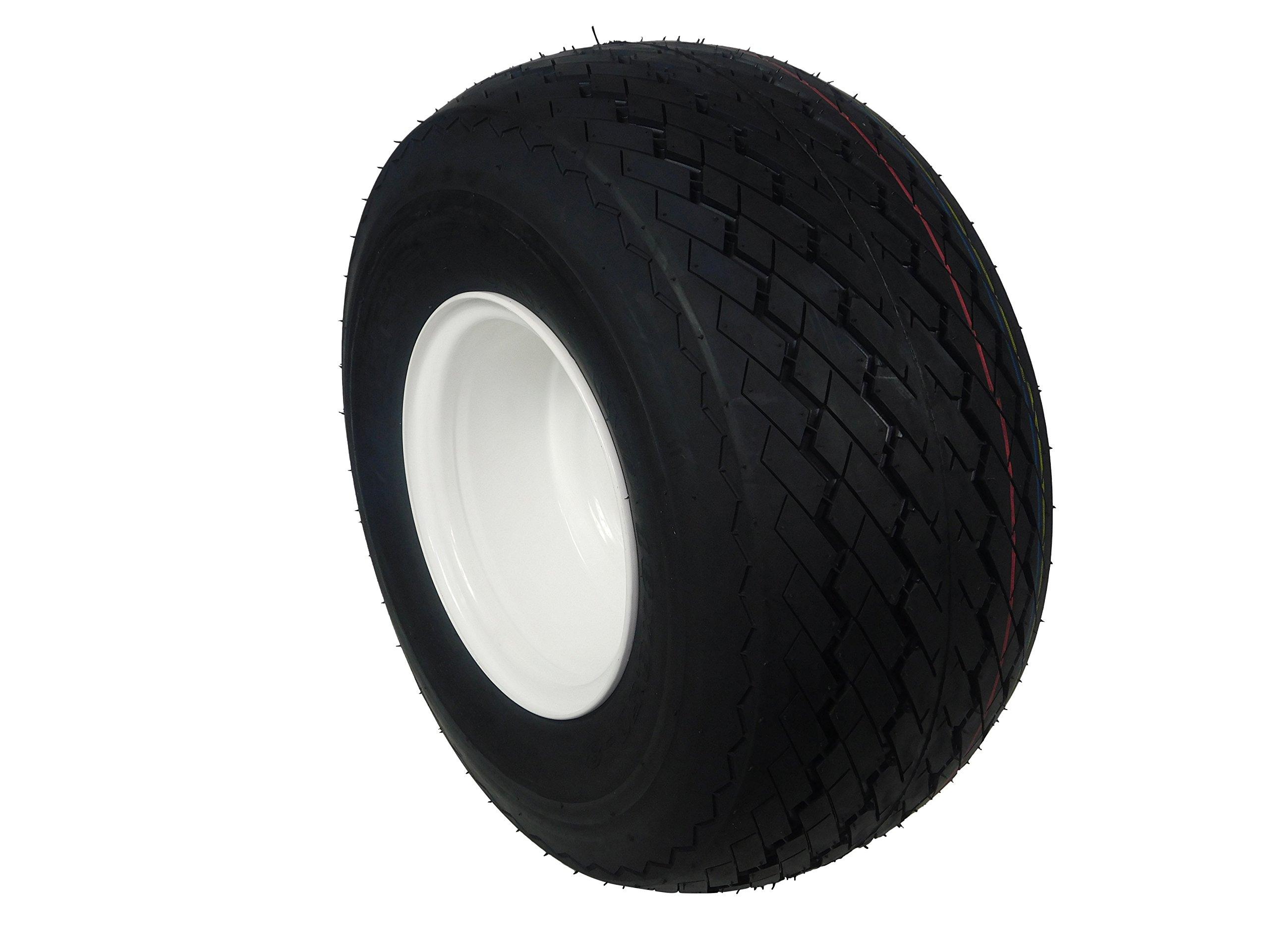 MASSFX SINGLE Golf Cart Tire 18x8.5-8 with White 8x7 4/4 MASSFX Wheel