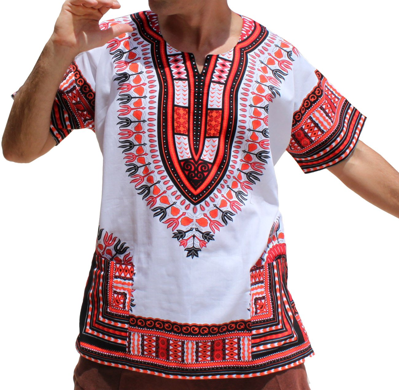 RaanPahMuang Brand Unisex Bright African White Dashiki Cotton Shirt #8 Light Red Medium