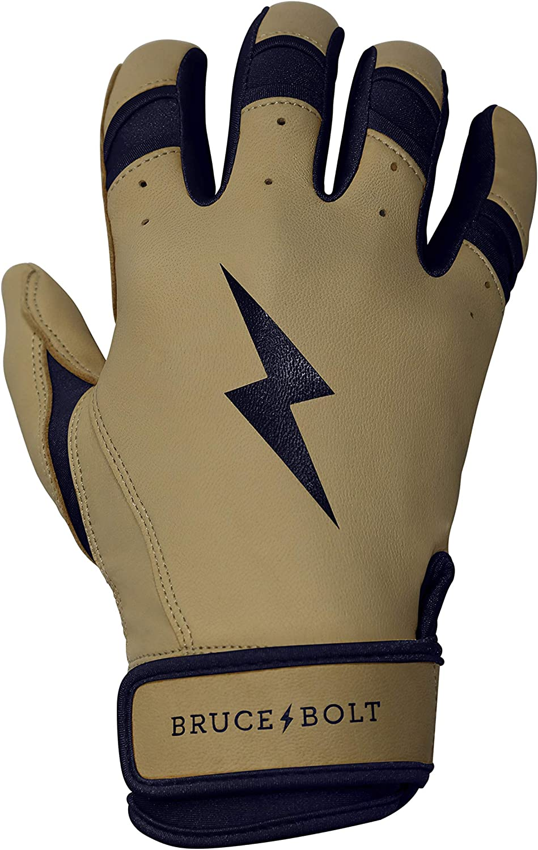 BRUCE+BOLT Adult Premium Pro Natural Series 100/% Cabretta Leather Short Cuff Batting Gloves