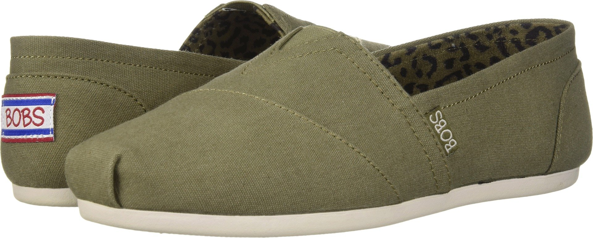 Skechers BOBS Women's Bobs Plush-Peace and Love Sneaker, Olive, 6.5 M US