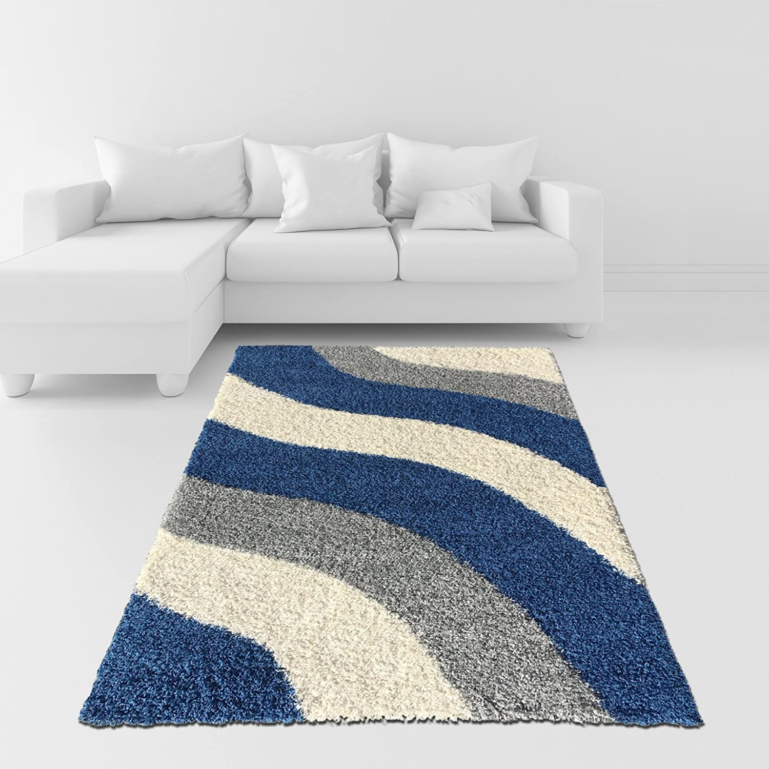 Amazon Soft Shag Area Rug 7x10 Geometric Striped Ivory Blue