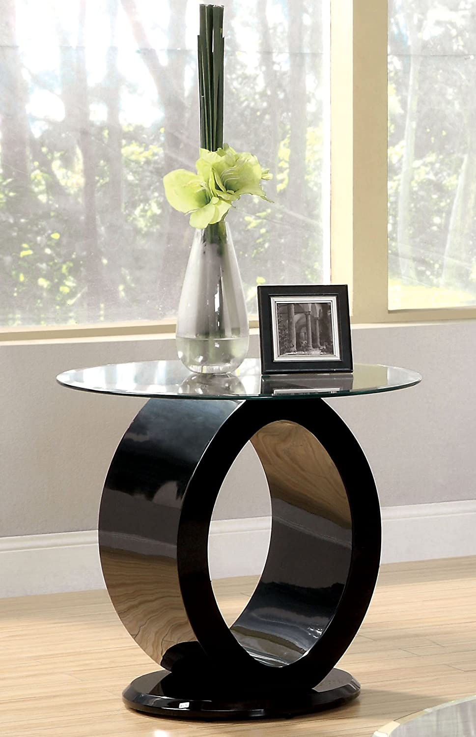Furniture of America Modine Contemporary Glass Top End Table, Black
