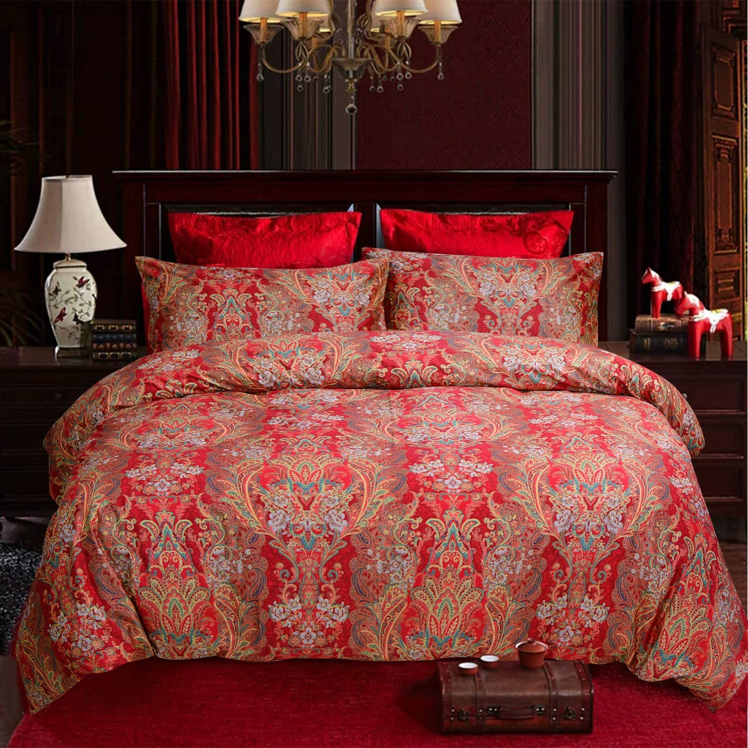 Boho Luxury Bohemian Retro Boho Bedding King 3 Pcs 100% Egyptian Cotton Paisley Damask Pattern Duvet Covers red and Gold 1000 Thread Count Super Soft Hypoallergenic