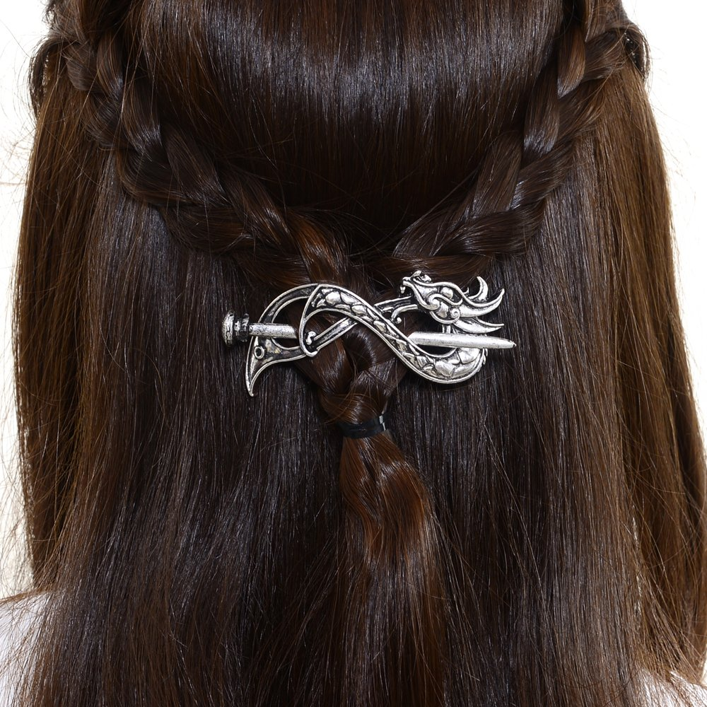 Norse Celtic Wedding Hair Accessories-Viking Antique Silver Dragon Hair Sticks Hairpin Viking Hair Slide Hairpins Men Clips Hair Jewelry Gifts Celtics Knot Hair Barrette for Women Vikingamulet