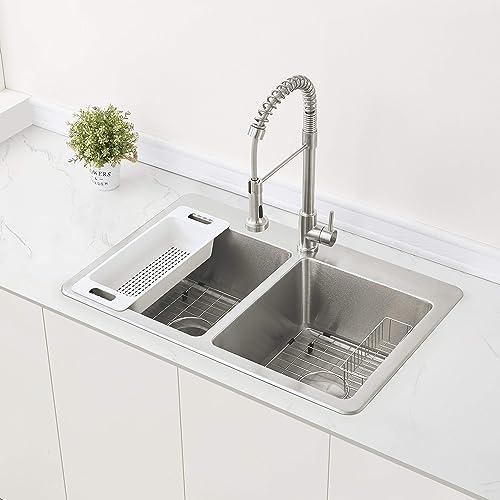 ZUHNE Verona Double Bowl Kitchen Sink Stainless Steel 16 Gauge 33 by 22 Drop-In Topmount