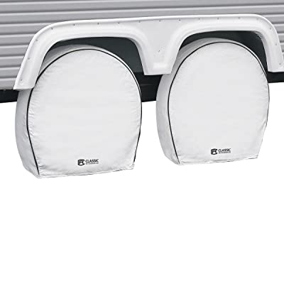 "Classic Accessories OverDrive Deluxe RV & Trailer Wheel Cover, 4-Pack, White, (For 27"" - 30"" diameter tires, up to 8.75"" wide): Automotive"