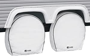 "Classic Accessories - 80-225-192302-00 Over Drive Deluxe RV Wheel Cover, Wheels 37"" - 41"" Diameter, 9.25"" Tire Width, White (4-pk)"